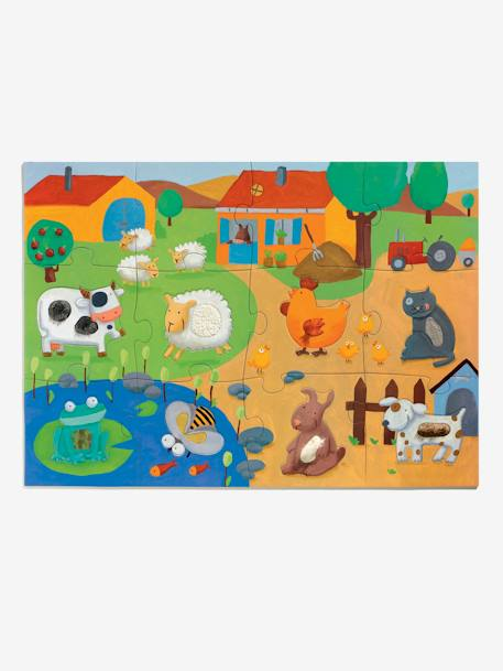 Tactile Farm Puzzle, 20 Pieces, by DJECO BEIGE MEDIUM SOLID WITH DECOR