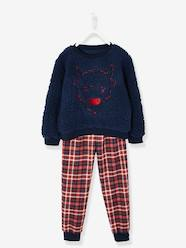 Boys-Nightwear-Dual Fabric Pyjamas for Boys, with Embroidered Bison