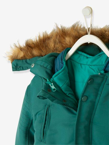 4-in-1 Parka with Fleece Lining for Boys BLUE DARK SOLID+GREEN DARK SOLID+GREY DARK SOLID+RED MEDIUM SOLID