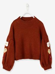 Girls-Gigot-Sleeved Pullover with Flower Appliqués for Girls