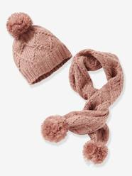 Girls-Accessories-Cable Knit Beanie & Scarf for Girls