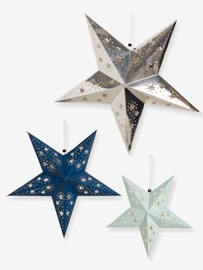 Image of 3 Christmas Stars in Openwork Paper blue light two color/multicol