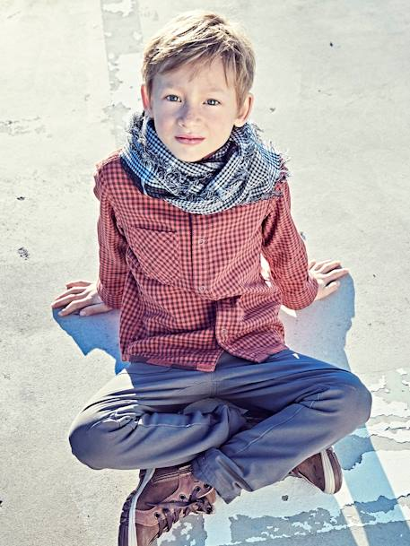 Reversible Shirt in Gauze for Boys BLACK DARK CHECKS+BLUE DARK CHECKS+RED MEDIUM CHECKS