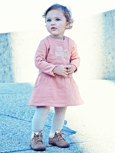 Fleece Dress for Baby Girls with Very Cute Motif BLUE DARK SOLID WITH DESIGN+GREY LIGHT MIXED COLOR+PINK LIGHT SOLID WITH DESIGN+PINK MEDIUM SOLID WITH DESIG