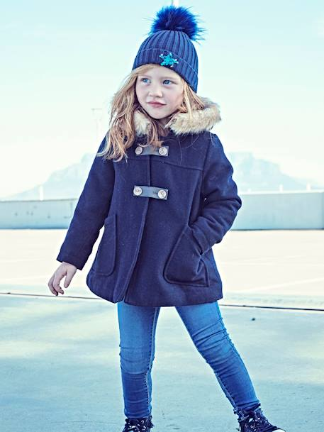 Girls' Wool Mix Coat GREY MEDIUM MIXED COLOR+Navy+Red