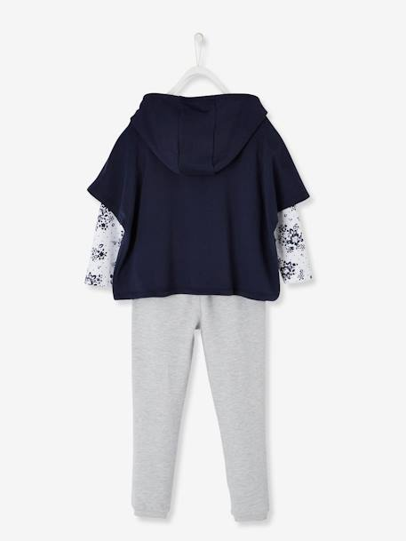 Sweatshirt + Top + Trouser Set for Girls BLUE DARK TWO COLOR/MULTICOL+PINK LIGHT 2 COLOR/MULTICOL R