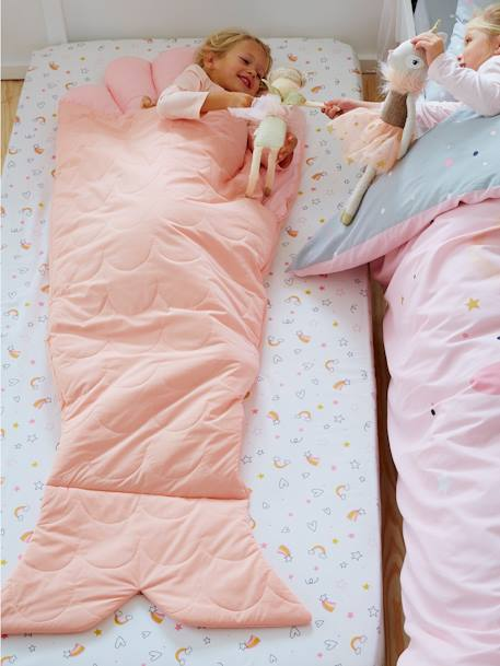Sleeping Bag + Pillow, Mermaid PINK MEDIUM SOLID WITH DESIG