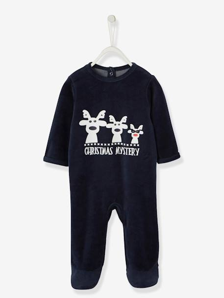 Pack of 2 Baby Velour Pyjamas BLUE DARK SOLID WITH DESIGN