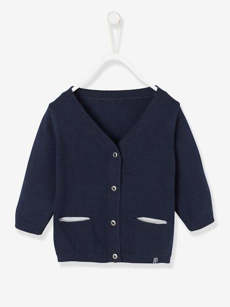 Cardigan with Decorative Pockets for Baby Boys BLUE DARK SOLID+GREY LIGHT MIXED COLOR