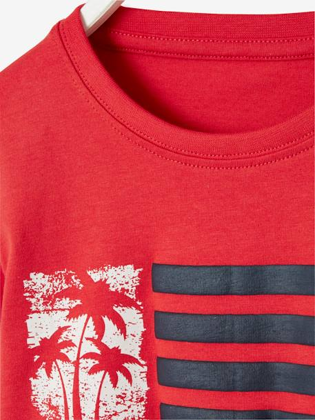 Printed T-shirt for Boys BLUE MEDIUM SOLID WITH DESIGN+RED DARK SOLID