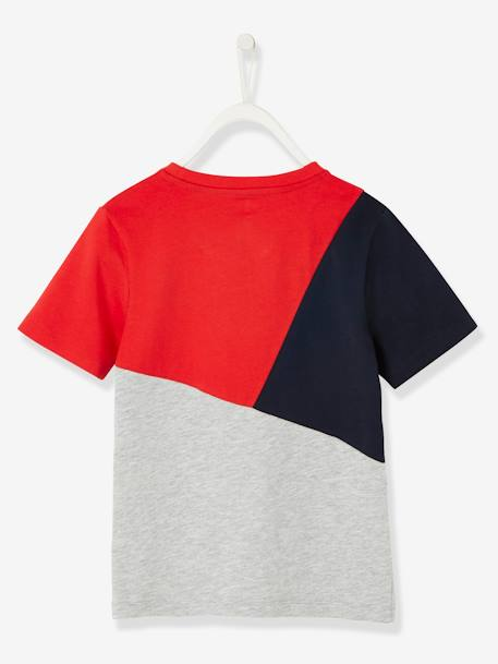 Colour Block Sports T-Shirt for Boys RED DARK SOLID