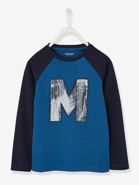 Two-Tone Top with Graffiti Motif for Boys BLUE DARK SOLID WITH DESIGN