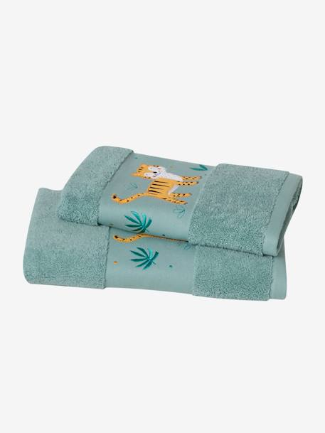 Tiger Bath Towel GREEN MEDIUM SOLID WITH DESIG