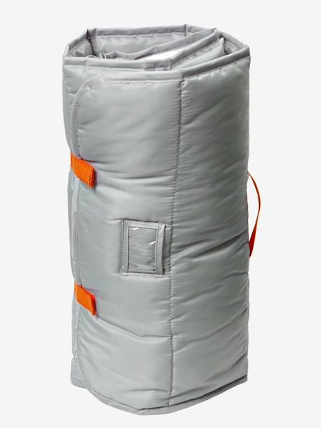 Wrap Sleeping Bag with Integrated Pillow, Stars Theme Grey/orange