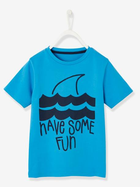 T-Shirt with Shark Motif for Boys BLUE MEDIUM SOLID WITH DESIGN