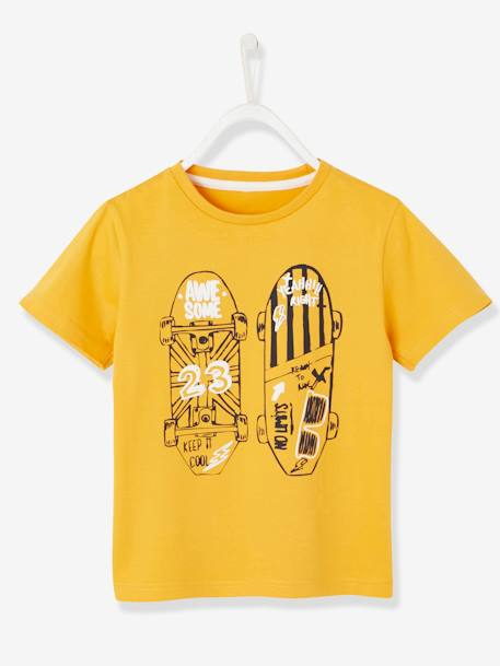 T-Shirt with Skateboard Motif in Relief for Boys YELLOW MEDIUM SOLID WTH DESIGN