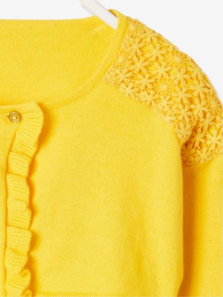 Bolero Cardigan for Girls, Ruffled & Macramé Details BLUE DARK SOLID+WHITE LIGHT SOLID+YELLOW DARK SOLID