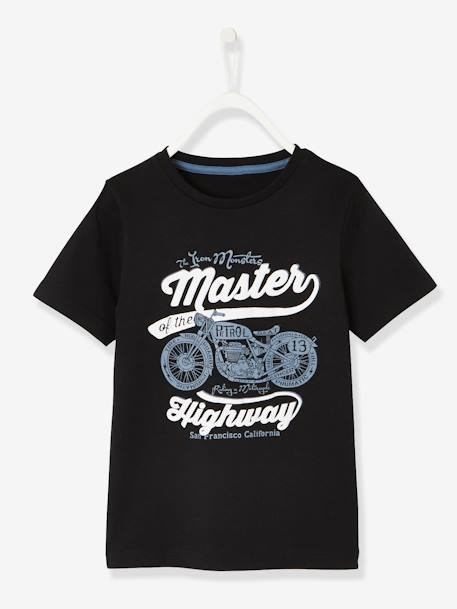 Short-Sleeved T-Shirt with Motorbike Motif for Boys BLACK DARK SOLID WITH DESIGN+BLUE MEDIUM SOLID WITH DESIGN