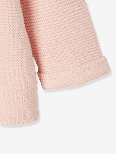 Knitted Cardigan in Purl Stitch for Newborns BLUE DARK SOLID+PINK LIGHT SOLID+WHITE LIGHT SOLID
