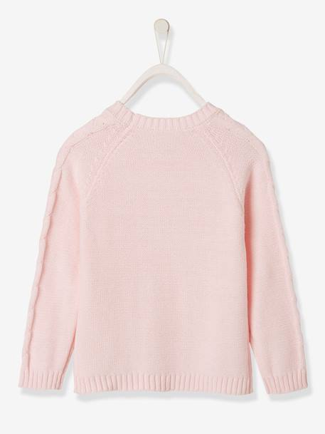 Top in Fancy Knit with Heart for Girls PINK LIGHT SOLID WITH DESIGN