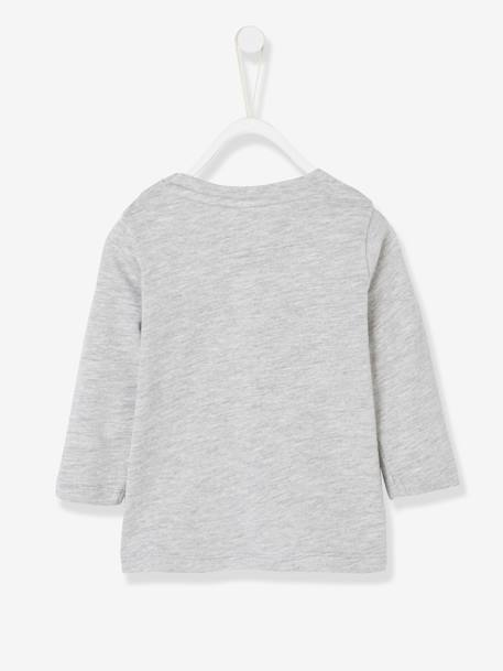 Long-Sleeved Top with Motif on the Pocket BLUE MEDIUM SOLID WITH DESIGN+GREY LIGHT MIXED COLOR+WHITE LIGHT SOLID WITH DESIGN