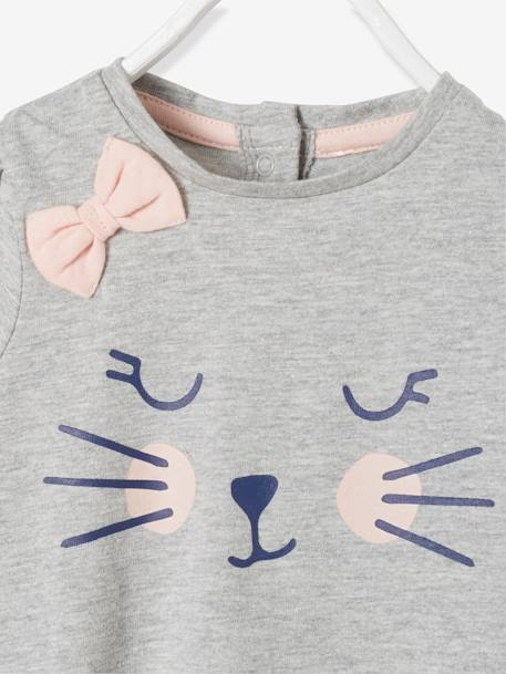 Baby T-shirt with Motif & Bow GREY LIGHT MIXED COLOR