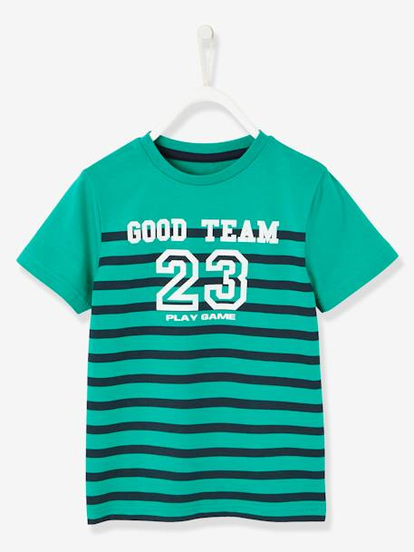 Striped T-shirt for Boys GREEN BRIGHT STRIPED+WHITE LIGHT STRIPED