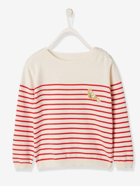 Sailor-Type Jumper with Iridescent Patch, for Girls BLUE DARK STRIPED+RED LIGHT STRIPED