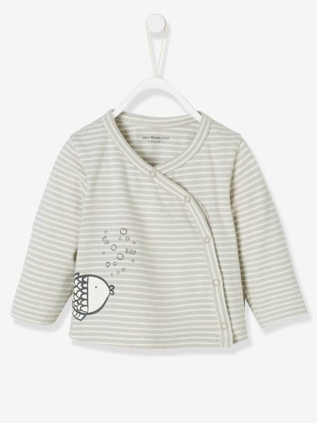 Striped Cardigan for Babies, Fish Motif GREY LIGHT STRIPED