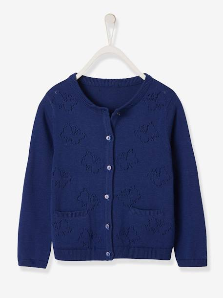 Cardigan with Pointelle Knit Butterflies for Girls BLUE DARK SOLID