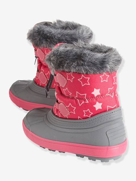 Girls' Lace-Up Snow Boots with Fur Lining Pink / stars
