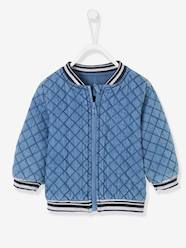 Baby-Outerwear-Padded Denim Jacket for Baby Girls