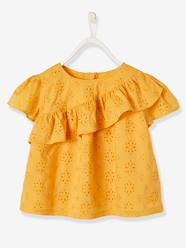Girls-Blouse with Ruffle in Broderie Anglaise for Girls