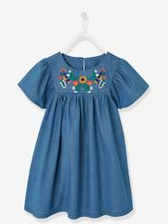 Girls-Dresses-Embroidered Dress in Lightweight Denim, for Girls