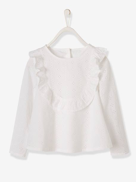 Blouse with Broderie Anglaise for Girls PINK LIGHT SOLID+WHITE LIGHT SOLID