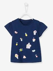 Baby-T-shirts & Roll Neck T-Shirts-Baby Girls' Top with Flocked Motif