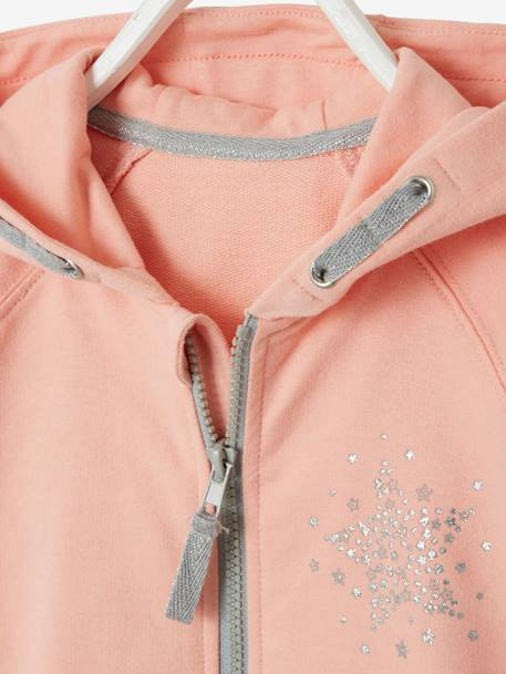 Sports Jacket, Zipped with Glittery Star Motif BLUE DARK SOLID WITH DESIGN+GREY LIGHT MIXED COLOR+PINK LIGHT SOLID WITH DESIGN
