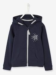Girls-Cardigans, Jumpers & Sweatshirts-Sports Jacket, Zipped with Glittery Star Motif