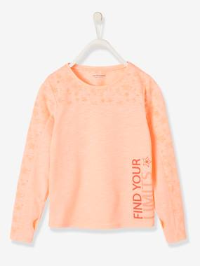 Long Sleeved Sports T Shirt For Girls Pink Medium Solid With Desig
