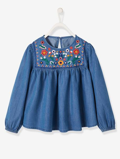 Embroidered Blouse in Lightweight Denim for Girls BLUE DARK WASCHED