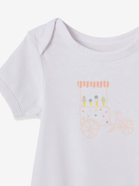 Pack of 3 Progressive Bodysuits in Stretch Cotton, Short Sleeves BLUE LIGHT TWO COLOR/MULTICOL+PINK LIGHT 2 COLOR/MULTICOL R