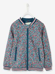 Girls-Coats & Jackets-Flower Print Bomber Jacket for Girls