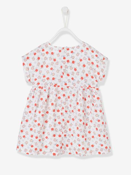 Short-Sleeved Dress with Graphic Motifs for Baby Girls BLUE DARK ALL OVER PRINTED+WHITE LIGHT ALL OVER PRINTED