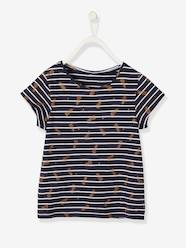 Girls-Tops-Striped T-Shirt for Girls, Glittery Fruit Motifs