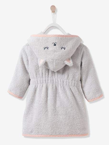 Cat Bathrobe for Babies GREY LIGHT SOLID WITH DESIGN