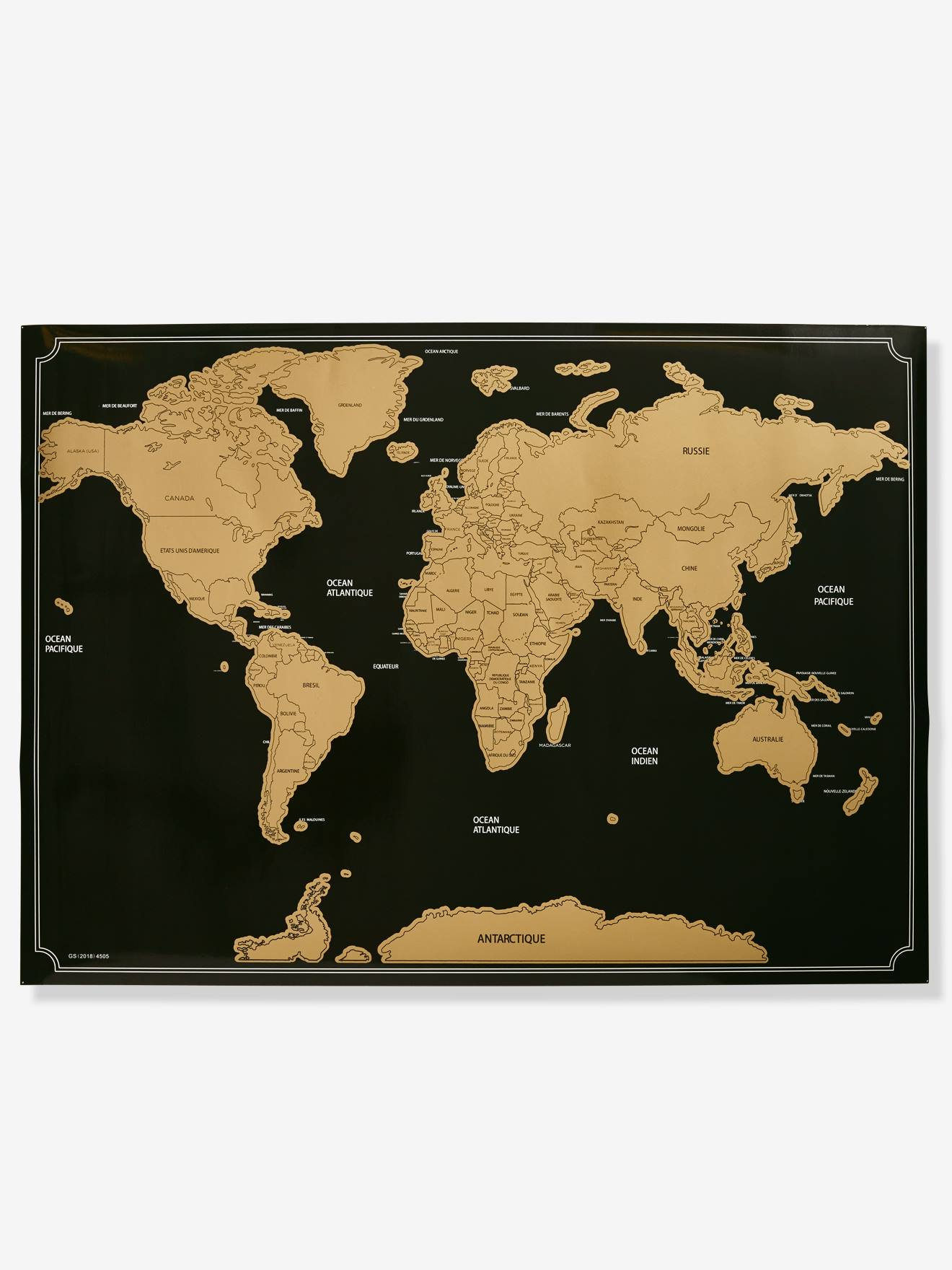 Scratch Off World Map Brown Light Solid With Design Storage