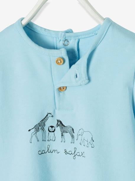 T-Shirt-Bodysuit for Newborn Babies, Animal Motifs BLUE LIGHT SOLID WITH DESIGN