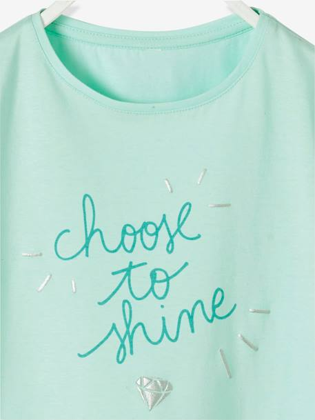 T-Shirt for Girls with Fancy Message in Iridescent Puff Ink GREEN LIGHT SOLID WITH DESIGN+GREY LIGHT MIXED COLOR+PURPLE LIGHT SOLID