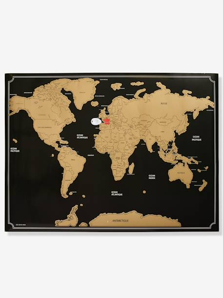Scratch-Off World Map BROWN LIGHT SOLID WITH DESIGN