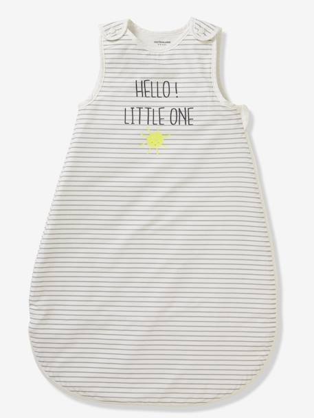 Sleeveless Summer Special Sleep Bag, HELLO LITTLE ONE GREY MEDIUM SOLID WITH DESIGN